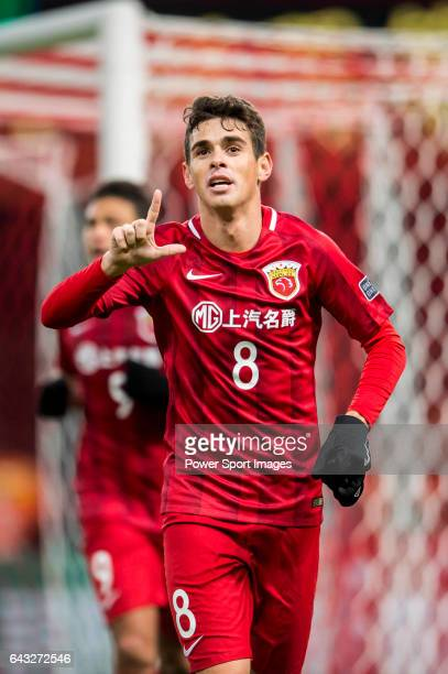 Oscar dos Santos Emboaba Junior of Shanghai SIPG FC celebrates during their AFC Champions League 2017 Playoff Stage match between Shanghai SIPG FC...