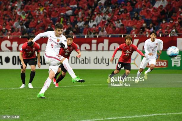Oscar Emboaba Junior of Shanghai SIPG misses penalty kick during the AFC Champions League Group F match between Urawa Red Diamonds and Shanghai SIPG...