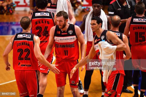 Oscar Forman of the Illawarra Hawks congratulates Tim Coenraad of the Illawarra Hawks during game three of the NBL Semi Final series between the...