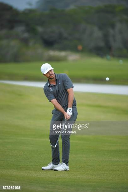 Oscar Fraustro of Mexico chips onto the fourth hole during the final round of the PGA TOUR Latinoamerica 64 Aberto do Brasil at the Olympic Golf...