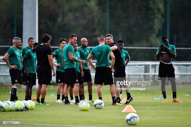 Oscar Garcia of Saint Etienne and Nolan Roux and players during Press conference and training session of AS SaintEtienne on June 26 2017 in...