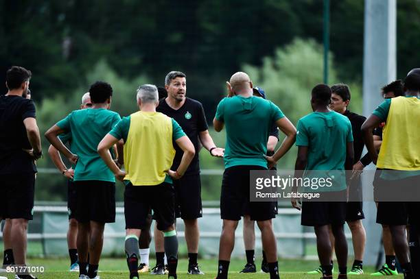 Oscar Garcia of Saint Etienne and players during Press conference and training session of AS SaintEtienne on June 26 2017 in SaintEtienne France