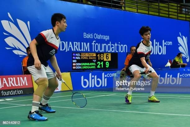 Oscar Guo and Dacmen Vong of New Zealand compete against Sebastian Gronbjerg and Daniel Lundgaard of Denmark during Men's Doubles qualification round...
