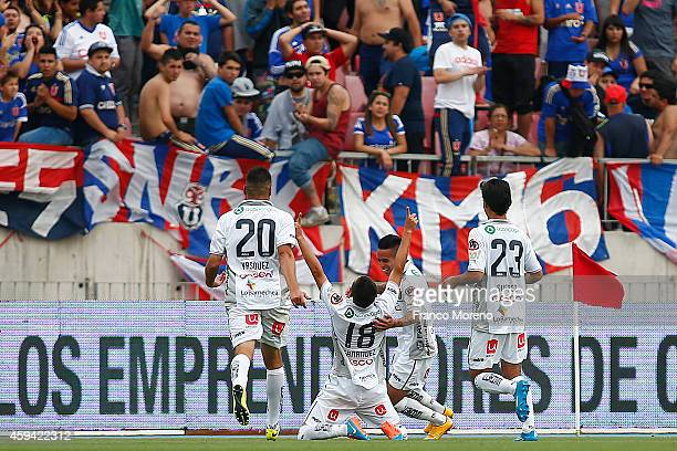 Oscar Hernandez of Barnechea celebrates after scoring the tying goal during a match between Universidad de Chile and Barnechea as a part of round 15...