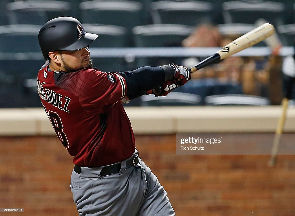 Oscar Hernandez #28 of the Arizona Diamondbacks hits a home run against the New York Mets in the 12th inning during a game at Citi Field on August 10, 2016 in the Flushing neighborhood of the Queens borough of New York City.