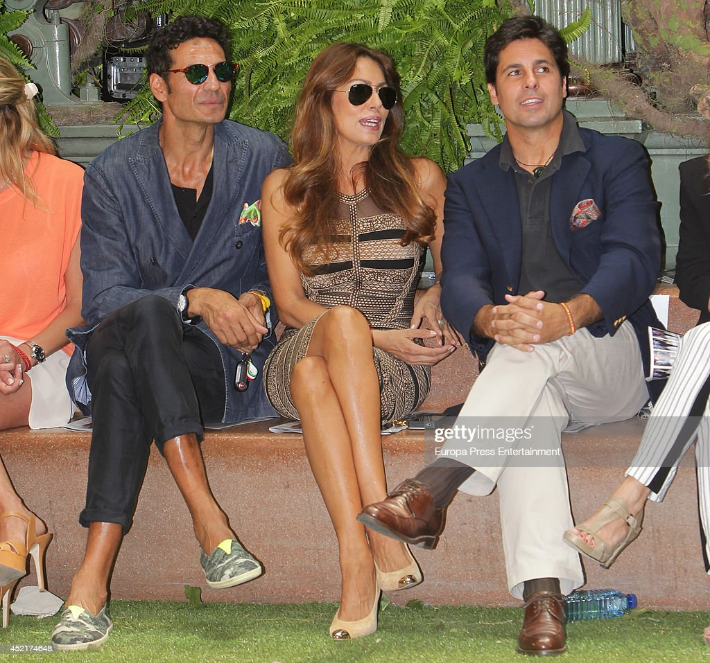 Oscar Higares Jacqueline de la Vega and Francisco Rivera attend photocall Emidio Tucci new collection 2015 presentation on July 14 2014 in Madrid...