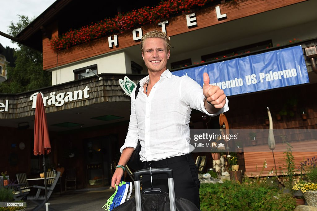Oscar Hiljemark, new player of Palermo, arrives on July 13, 2015 in Bad Kleinkirchheim, Austria.