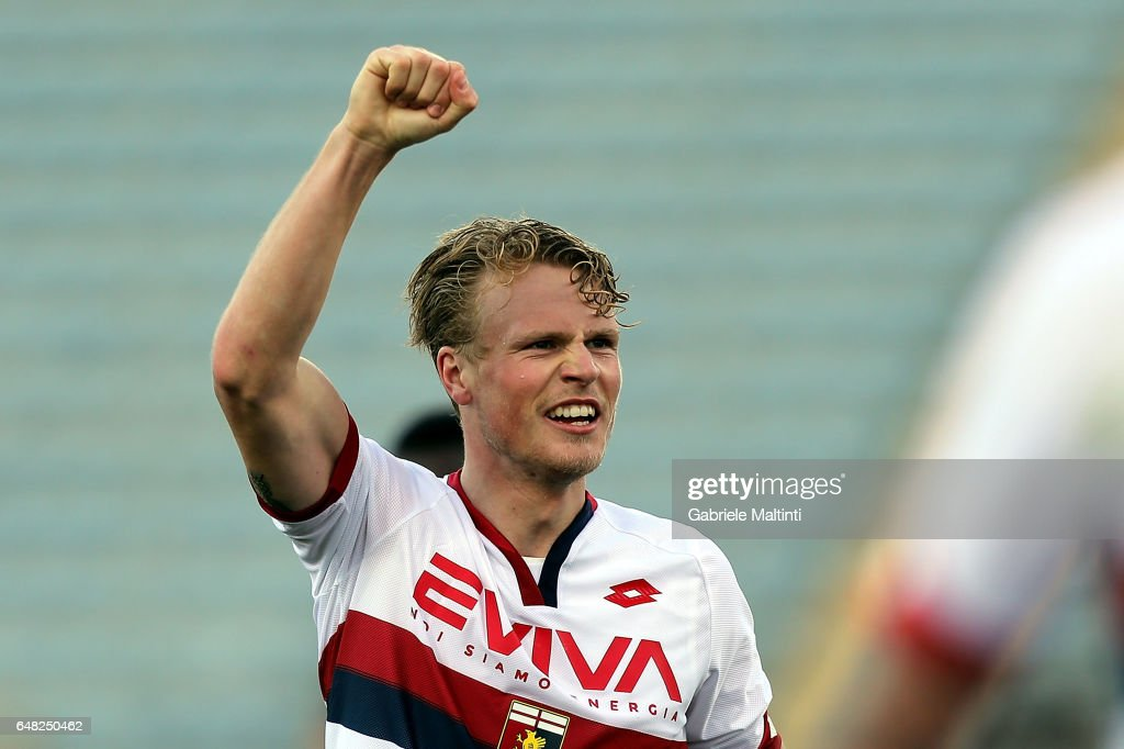 Oscar Hiljemark of Genoa CFC celebrates after scoring a goal during the Serie A match between Empoli FC and Genoa CFC at Stadio Carlo Castellani on March 5, 2017 in Empoli, Italy.