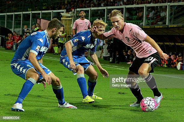 Oscar Hiljemark of Palermo in action during the Serie A match between US Citta di Palermo and US Sassuolo Calcio at Stadio Renzo Barbera on September...