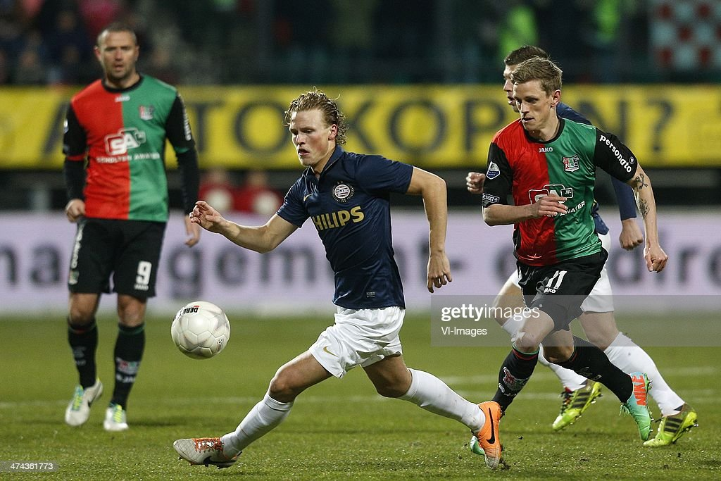Oscar Hiljemark of PSV Soren Rieks of NEC during the Dutch Eredivisie match between NEC Nijmegen and PSV Eindhoven at the Goffert stadium on february...