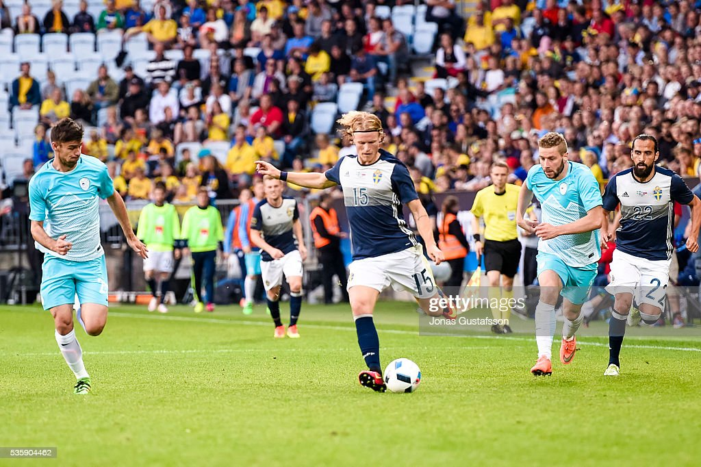 <a gi-track='captionPersonalityLinkClicked' href=/galleries/search?phrase=Oscar+Hiljemark&family=editorial&specificpeople=8803593 ng-click='$event.stopPropagation()'>Oscar Hiljemark</a> of Sweden competes for the ball during the international friendly match between Sweden and Slovenia May 30, 2016 in Malmo, Sweden.