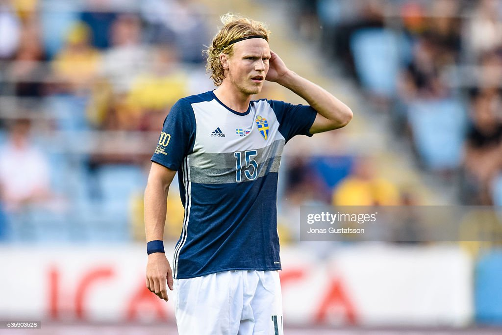 <a gi-track='captionPersonalityLinkClicked' href=/galleries/search?phrase=Oscar+Hiljemark&family=editorial&specificpeople=8803593 ng-click='$event.stopPropagation()'>Oscar Hiljemark</a> of Sweden during the international friendly match between Sweden and Slovenia May 30, 2016 in Malmo, Sweden.