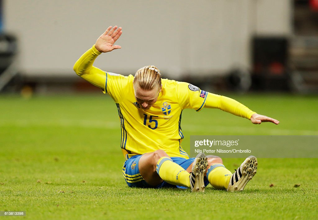 Oscar Hiljemark of Sweden reacts during the FIFA 2018 World Cup Qualifier between Sweden and Bulgaria at Friends Arena on October 10, 2016 in Solna, Sweden.