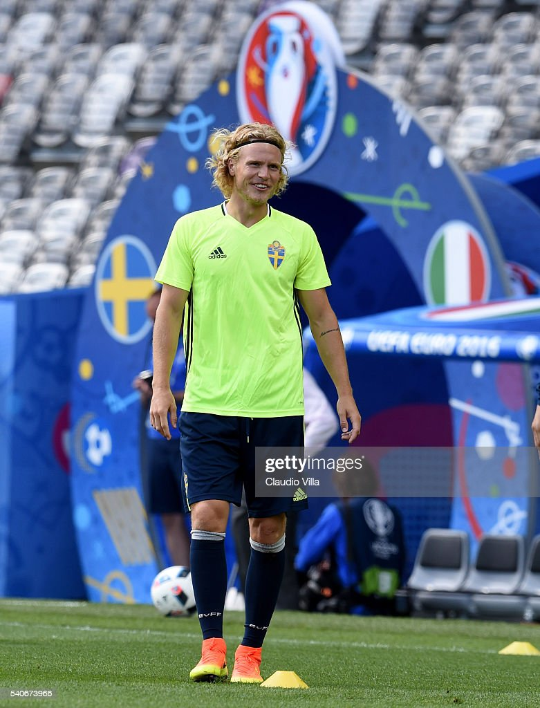 Oscar Hiljemark of Sweden smiles during a training session ahead of their UEFA Euro 2016 Group E match between Italy and Sweden on June 16, 2016 in Toulouse, France.