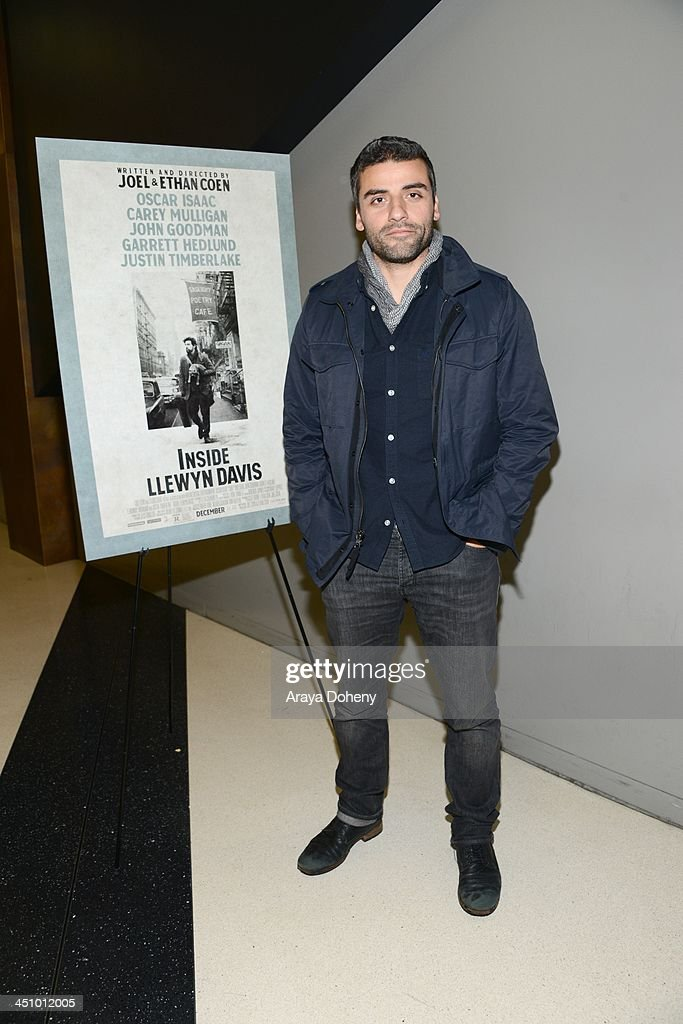 Oscar Isaac attends a screening and Q A of 'Inside Llewyn Davis' at the Landmark Theater on November 20 2013 in Los Angeles California