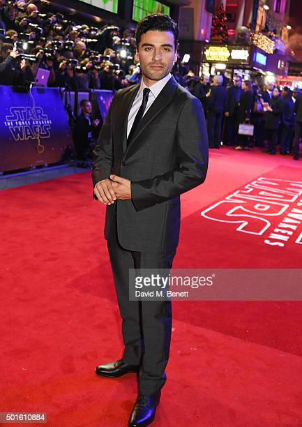 Oscar Isaac attends the European Premiere of 'Star Wars The Force Awakens' in Leicester Square on December 16 2015 in London England