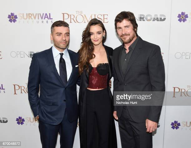 Oscar Isaac Charlotte Le Bon and Christian Bale attend the New York Screening of 'The Promise' at The Paris Theatre on April 18 2017 in New York City