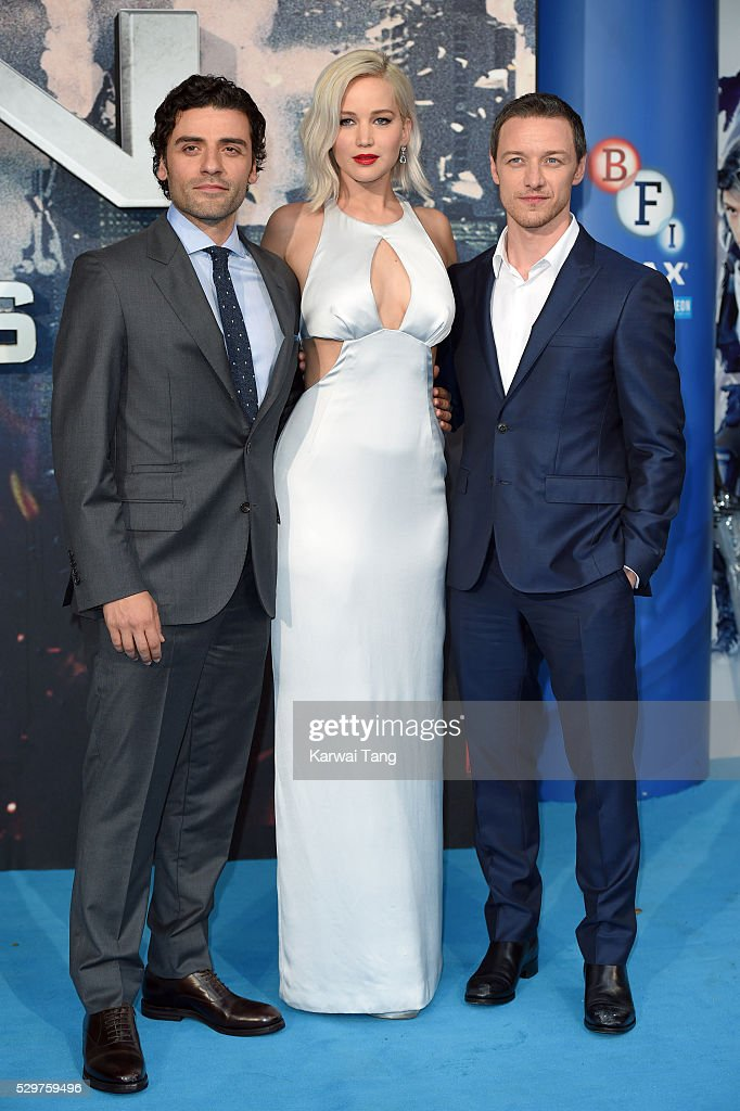 Oscar Isaac Jennifer Lawrence and James McAvoy attend a Global Fan Screening of 'XMen Apocalypse' at BFI IMAX on May 9 2016 in London England