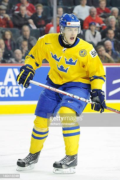 Oscar Klefbom of Team Sweden skates during the 2012 World Junior Hockey Championship Semifinal game against Team Finland at the Saddledome on January...