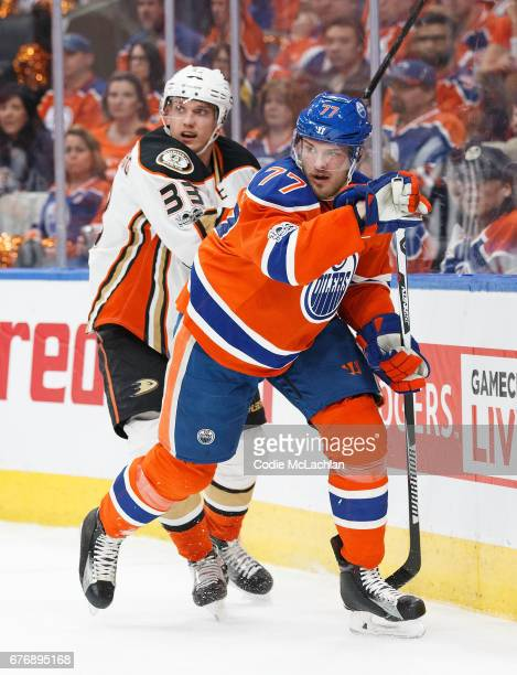 Oscar Klefbom of the Edmonton Oilers battles against Jakob Silfverberg of the Anaheim Ducks in Game Three of the Western Conference Second Round...