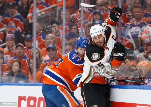 Oscar Klefbom of the Edmonton Oilers battles against Ryan Getzlaf of the Anaheim Ducks in Game Four of the Western Conference Second Round during the...