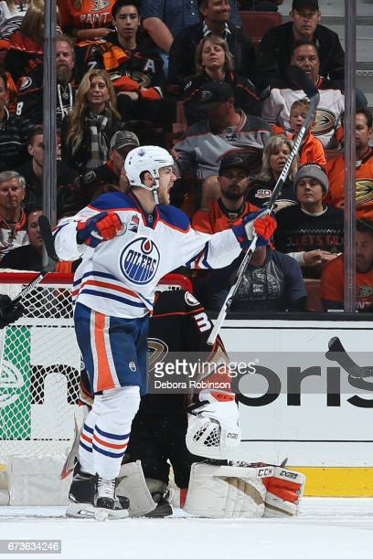Oscar Klefbom of the Edmonton Oilers celebrates a goal in the third period against John Gibson of the Anaheim Ducks in Game One of the Western...