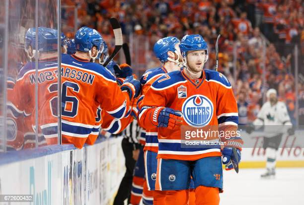 Oscar Klefbom of the Edmonton Oilers celebrates his gametying goal against the San Jose Sharks in Game Five of the Western Conference First Round...