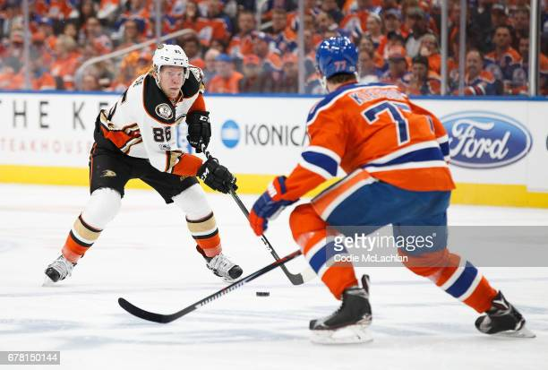 Oscar Klefbom of the Edmonton Oilers defends the zone against Ondrej Kase of the Anaheim Ducks in Game Four of the Western Conference Second Round...
