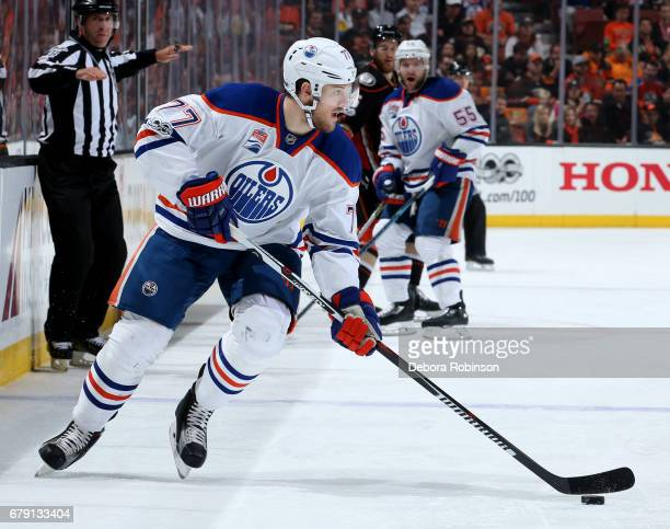 Oscar Klefbom of the Edmonton Oilers handles the puck during the game against the Anaheim Ducks in Game Two of the Western Conference Second Round...