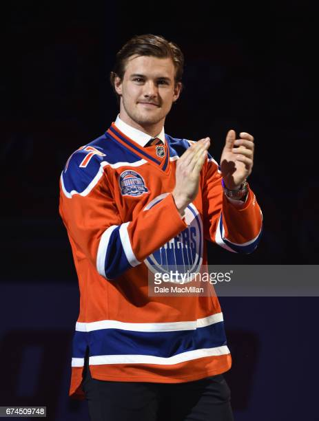 Oscar Klefbom of the Edmonton Oilers is introduced during the closing ceremonies at Rexall Place following the game between the Edmonton Oilers and...