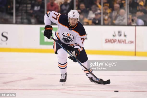 Oscar Klefbom of the Edmonton Oilers skates against the Boston Bruins at the TD Garden on November 26 2017 in Boston Massachusetts