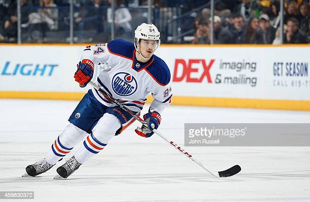 Oscar Klefbom of the Edmonton Oilers skates against the Nashville Predators at Bridgestone Arena on November 27 2014 in Nashville Tennessee