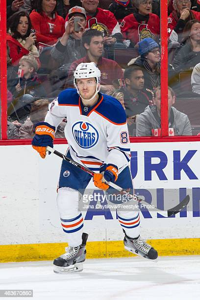 Oscar Klefbom of the Edmonton Oilers skates against the Ottawa Senators at Canadian Tire Centre on February 14 2015 in Ottawa Ontario Canada