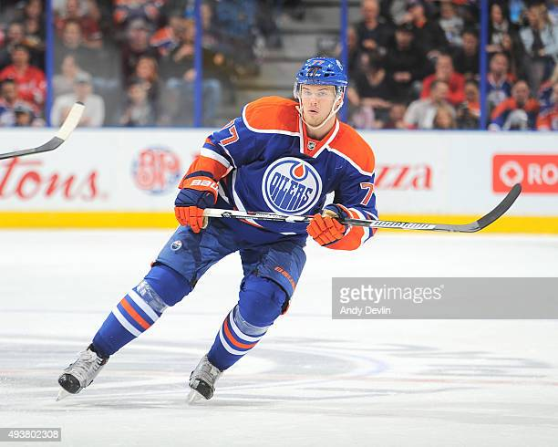 Oscar Klefbom of the Edmonton Oilers skates during a game against the Detroit Red Wings on October 21 2015 at Rexall Place in Edmonton Alberta Canada