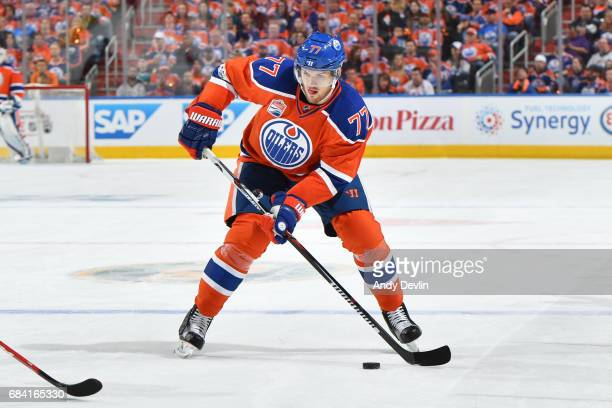 Oscar Klefbom of the Edmonton Oilers skates in Game Five of the Western Conference First Round during the 2017 NHL Stanley Cup Playoffs against the...