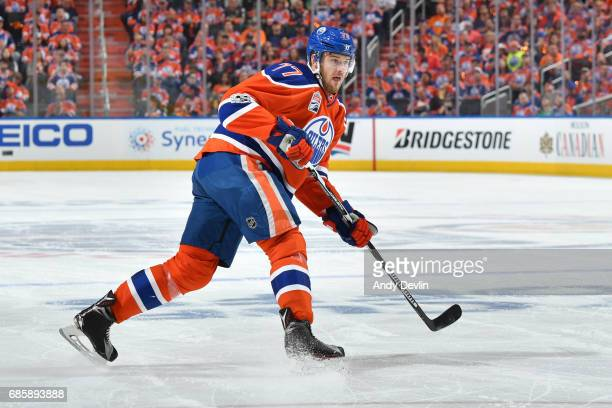 Oscar Klefbom of the Edmonton Oilers skates in Game Three of the Western Conference Second Round during the 2017 NHL Stanley Cup Playoffs against the...
