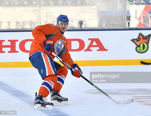 Oscar Klefbom of the Edmonton Oilers skates in practice in advance of the 2016 Tim Hortons NHL Heritage Classic game at Investors Group Field on...