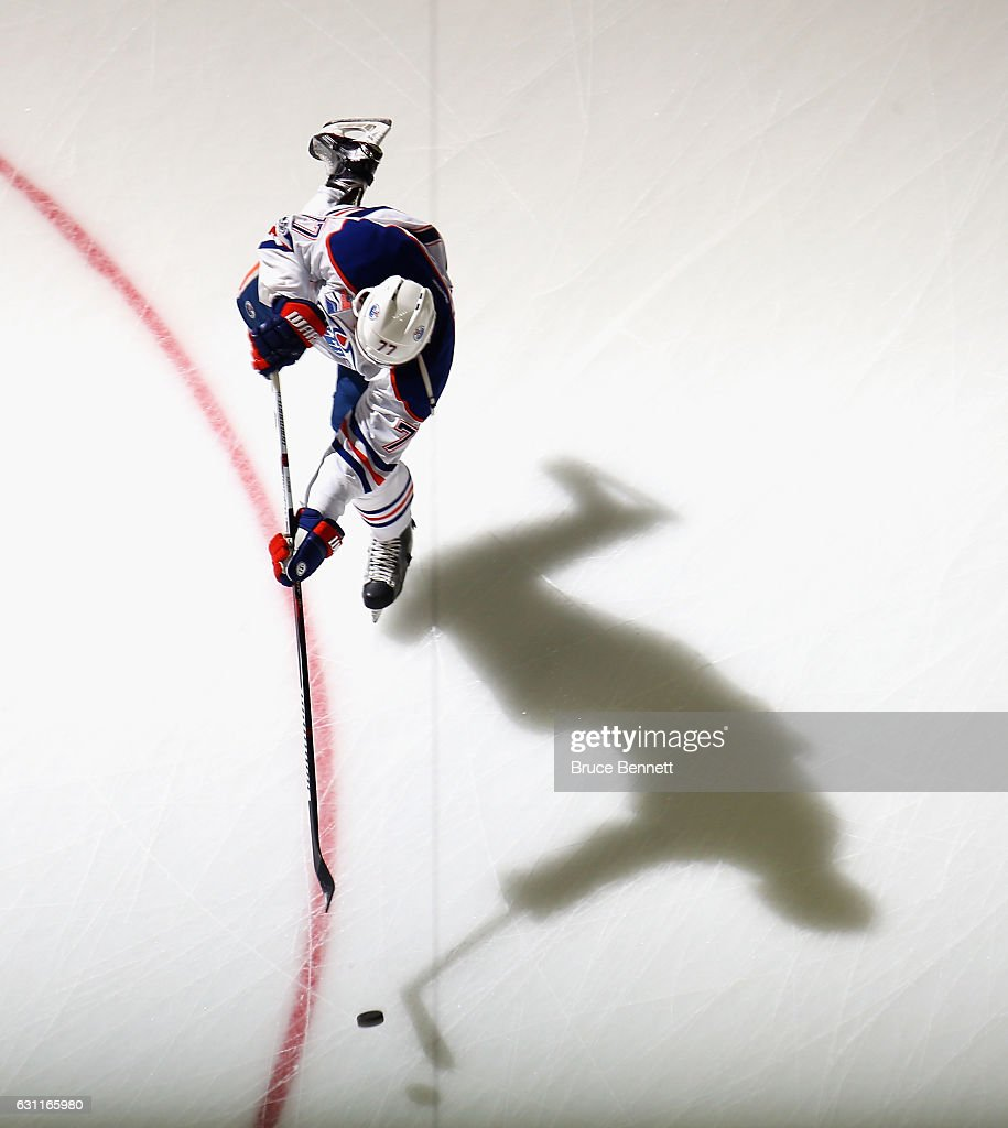 Oscar Klefbom #77 of the Edmonton Oilers skates in warm-ups prior to the game against the New Jersey Devils at the Prudential Center on January 7, 2017 in Newark, New Jersey.