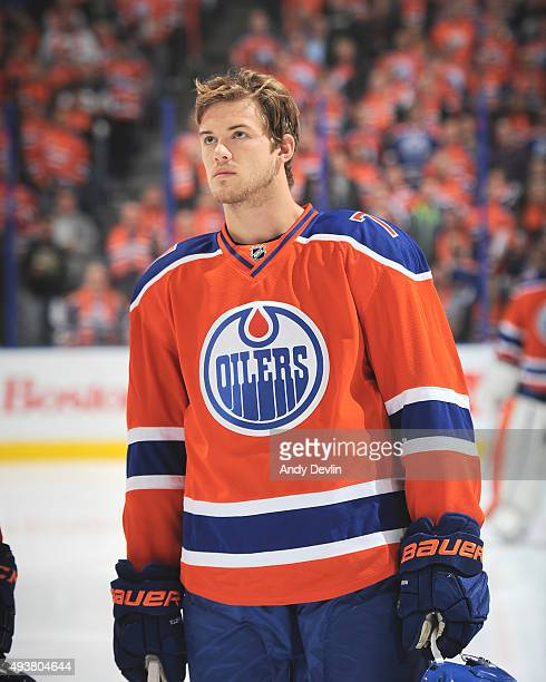Oscar Klefbom of the Edmonton Oilers stands for the sing of national anthem prior to a game against the St Louis Blues on October 15 2015 at Rexall...