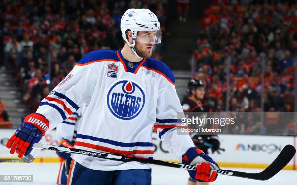 Oscar Klefbom of the Edmonton Oilers waits for a faceoff in Game Seven of the Western Conference Second Round against the Anaheim Ducks during the...