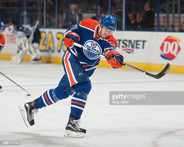 Oscar Klefbom of the Edmonton Oilers warms up prior to a preseason game against the Winnipeg Jets on September 23 2015 at Rexall Place in Edmonton...