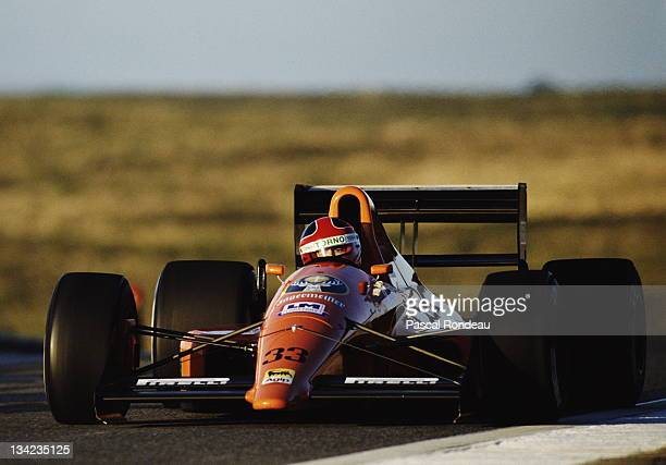 Oscar Larrauri drives the EuroBrun Racing Euro Brun ER189 Judd 35 V8 during prequalifying for the Portuguese Grand Prix on 22nd September 1989 at the...