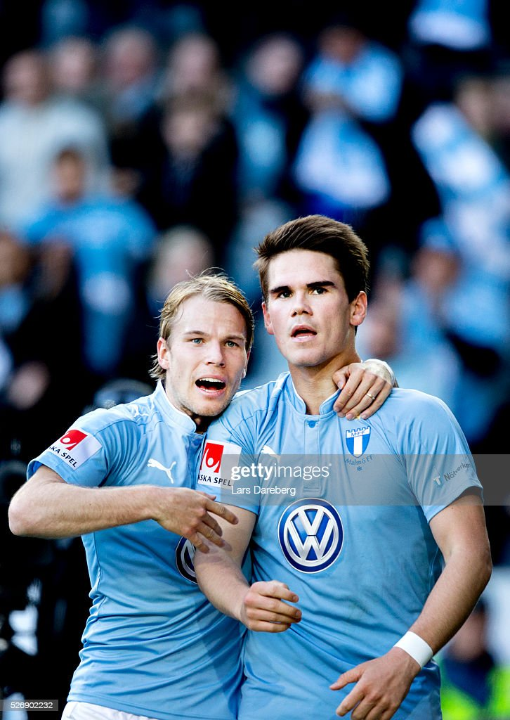 Oscar Lewicki of Malmo FF and Vidar Orn Kjartansson of Malmo FF celebrate after his 3-0 goal during the Allsvenskan match between Malmo FF and BK Hacken at Swedbank Stadion on May 1, 2016 in Malmo, Sweden.