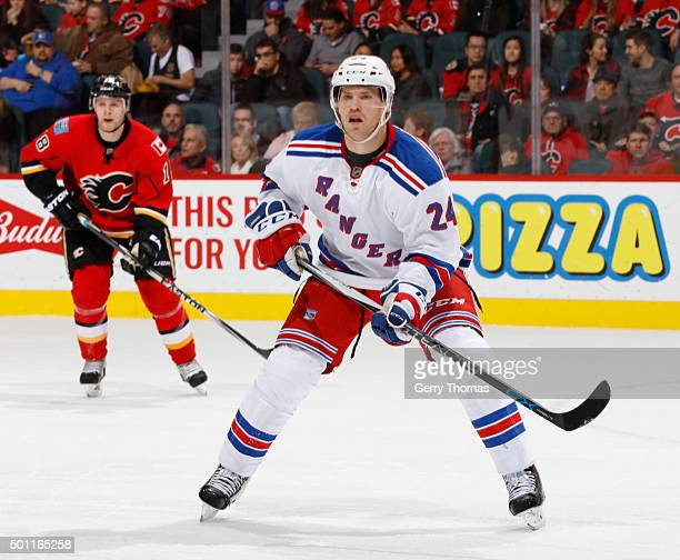 Oscar Lindberg of the New York Rangers awaits a pass against the Calgary Flames at Scotiabank Saddledome on December 12 2015 in Calgary Alberta Canada