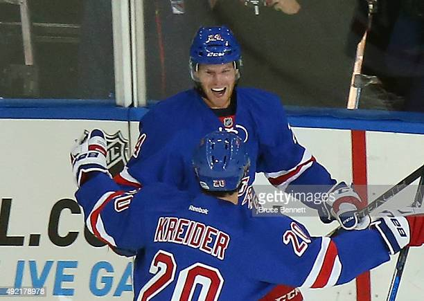 Oscar Lindberg of the New York Rangers celebrates his second goal of the game at 512 of the first period against the Columbus Blue Jackets at Madison...