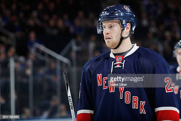Oscar Lindberg of the New York Rangers looks on during a break in the action against the Washington Capitals at Madison Square Garden on January 9...