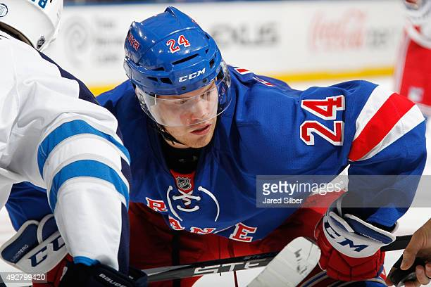 Oscar Lindberg of the New York Rangers looks on during a faceoff against the Winnipeg Jets at Madison Square Garden on October 13 2015 in New York...