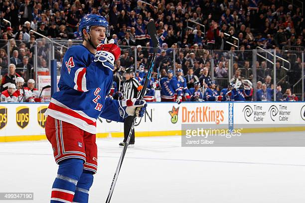 Oscar Lindberg of the New York Rangers reacts after scoring a power play goal in the first period against the Carolina Hurricanes at Madison Square...