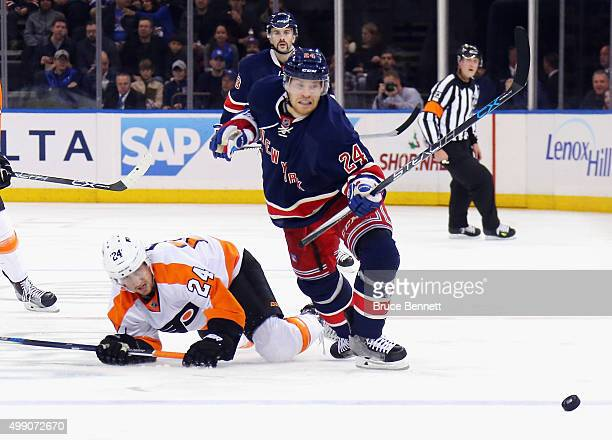 Oscar Lindberg of the New York Rangers skates against the Philadelphia Flyers at Madison Square Garden on November 28 2015 in New York City The...