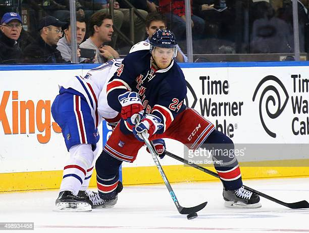 Oscar Lindberg of the New York Rangers skates against the Montreal Canadiens at Madison Square Garden on November 25 2015 in New York City The...
